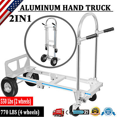 2 In 1 Folding Aluminum Hand Truck 770LBS Convertible Portable Dolly 4 Wheels