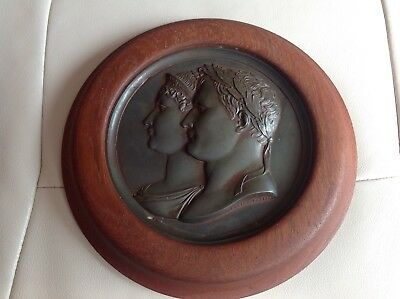 Andrieu Fecit Large Bronze Plaque Marriage Napoleon & Marie Louise Circa 1810