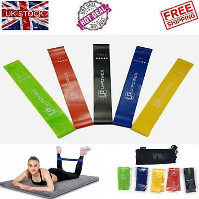 Yoga Gym Resistance Bands Loop Exercise Workout Cross Fit Fitness Booty Band UK