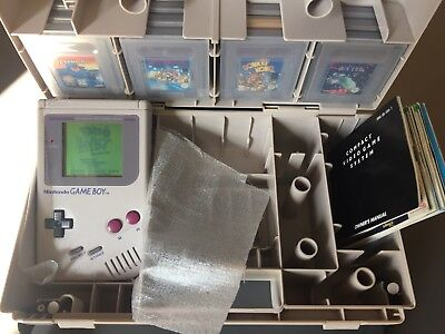 Nintendo Game Boy Grey Handheld System With Games And Carry Case