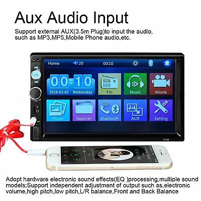 7'' Double 2 DIN Car Stereo Bluetooth Touch Screen MP5 Player Head Unit FM Radio