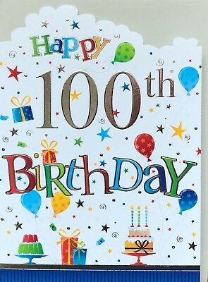 100th Birthday Card Nice Male Short Verse Made In UK