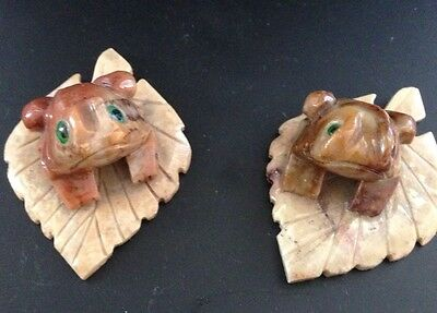 NEW! Frog on Leaf Mini Figurine Hand Carved Soapstone from Peru, Set Of 2