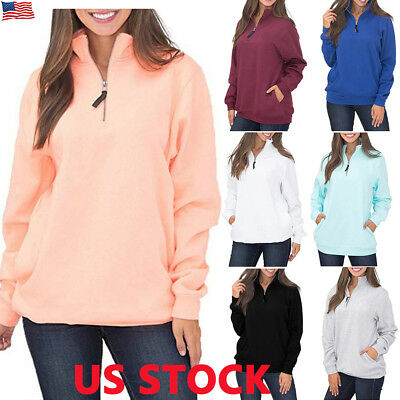 US Womens Casual Zip Jumper Pullover Hoodies Top Winter Sweatshirt Ladies Blouse