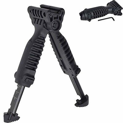 Adjustable Tactical Vertical Fore Hand Grip Bipod For Picatinny Weaver Kit