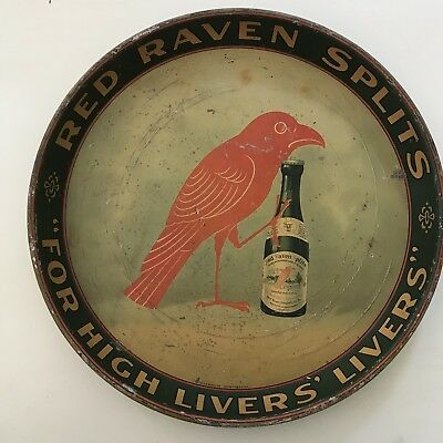 UNCOMMON Circa 1900~1920 RED RAVEN SPLITS Serving/Ad Tray ~ Harmerville PA