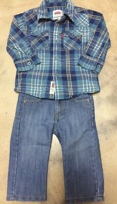 Boys 12 months Levis Jeans Adjustable Waist Long Sleeve Western Shirt Outfit Lot