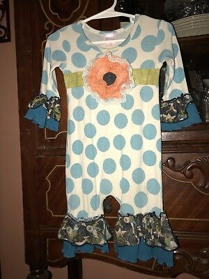GIGGLE MOON 1 Pc. Sz 9 Mo.-Polka Dot w/RUFFLES+exquisite Flower On Front-EUC