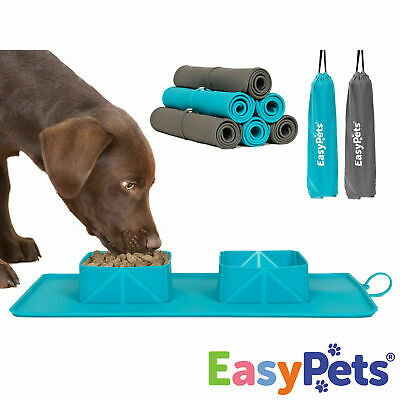 EasyPets Dog Bowls & Mat Food Water Puppy Cat Pet Travel Collapsible Roll-a-Bowl