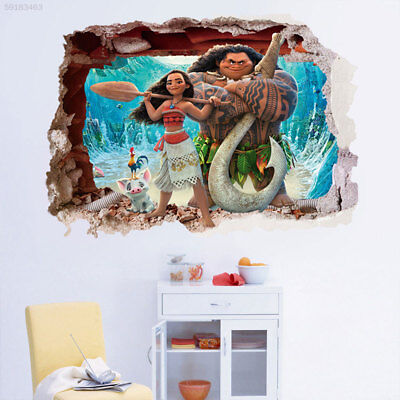 BB37 Moana 3D Cartoon Waterproof Wall Stickers Decal Bedroom Living Room Art