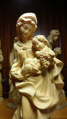 Vintage Hand Carved Wooden Our Lady Mary Madonna Of Clouds & Jesus Statue