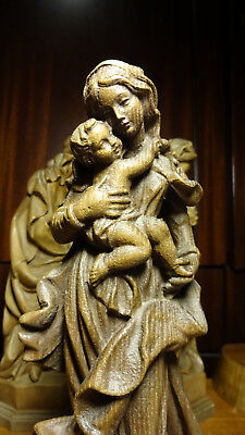 Vintage Hand Carved Wooden Our Lady Virgin Mary Madonna & Jesus Statue Figurine