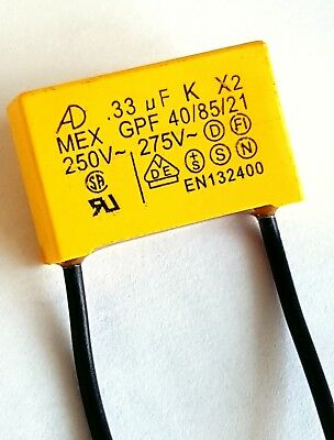 0.33uF 275v, 330n 330K 40/85/21, Safety Capacitor pitch 22mm flexi wire–ref:832
