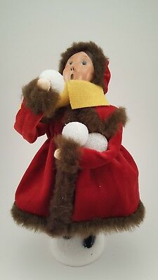 Byers Choice female child Caroler with Red Coat and Snowballs 2006