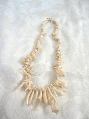 Vintage White Coral Necklace 18in.