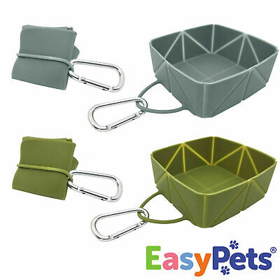 EasyPets Dog Bowls Food Water Puppy Cat Pet Travel Collapsible Fold-a-Bowl