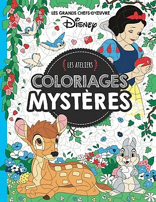 Disney Adult Colouring Book French By Number Hidden Image Mystery Animals Scenes