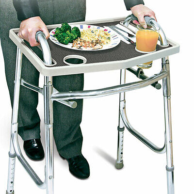 Walker Tray with Non-Slip Grip Mat, Fits Most Walkers - Gray