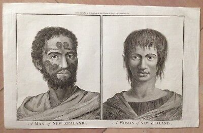 New Zealand Man & Woman 1784 James Cook English Edition Antique Engraved Plate