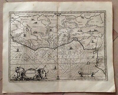 AFRICA GUINEA 1676 Olfert DAPPER UNUSUAL ANTIQUE ENGRAVED MAP 17TH CENTURY