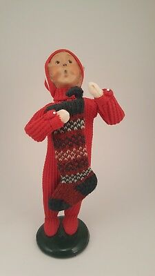 Byers Choice The Carolers male child with stocking 2000