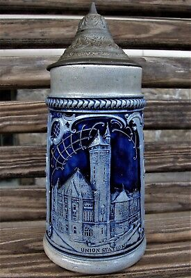 Nice UNION STATION RAILROAD ~ ST. LOUIS, MO. LIDDED BEER STEIN ~ STUNNING DETAIL