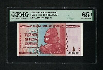 Zimbabwe 20 Trillion Dollars 2008 P89 PMG 65 EPQ Graded Gem UNC Star Replacement