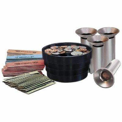 Fast Wrap Coin Counting Tubes Assorted Change Sorter Counter Piece Sorting Bank