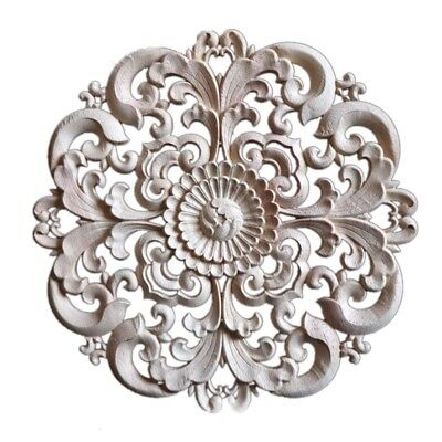 1PC Floral Woodcarving Decal Furniture Cabinet Applique Home Door Cabinet Decor