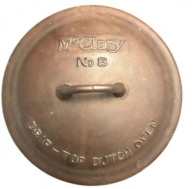 McClary Cast Iron #8 Drip Top Dutch Oven Lid ONLY Canada Antique Vintage