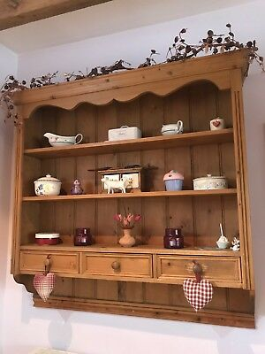 Antique Pine Delph Rack with Drawers