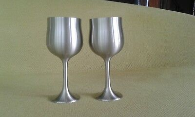 Pair of Selwin Pewter Wine Goblets