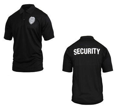 Black Security Guard Officer Badge PRO Public Safety Polo Golf Collar Shirt