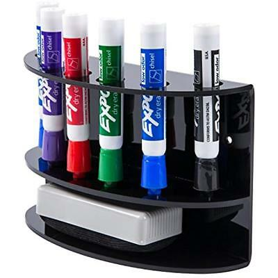 2-Tiered Wall Mounted Black Acrylic Dry Erase Board Marker And Eraser Holder 6