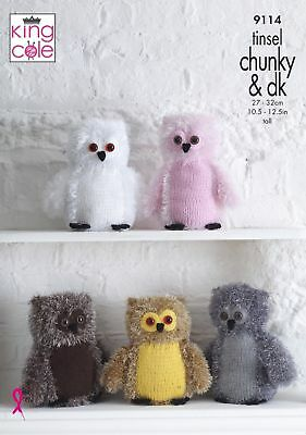 Cute Owls Toy Knitting Pattern 2 Sizes Using Tinsel Chunky Yarn King Cole 9114