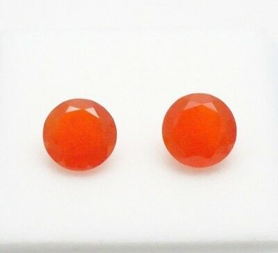 Matched Pair of 8mm Round Carnelian - 3.30CTW - Carnelian - Loose Gemstones