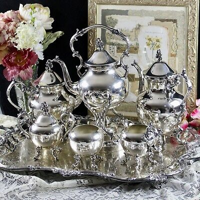 Birmingham Silverplate 7 Piece Coffee &Tea Service Set With Tilting Water Kettle