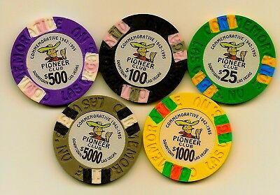 Pioneer Commerative Casino Chips (5) !942-!995