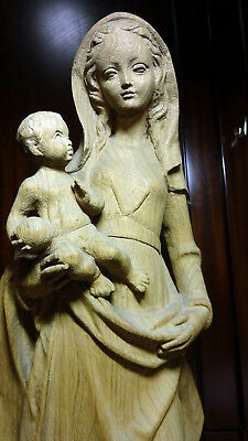 Antique Vintage Hand Carved Wooden Our Lady Virgin Mary Madonna & Jesus Statue