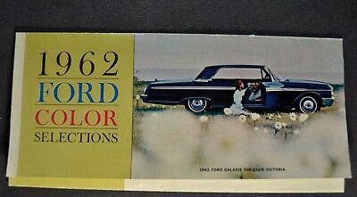 1962 Ford Paint Chip Colors Brochure Galaxie 500 Falcon, Wagon Nice Original 62