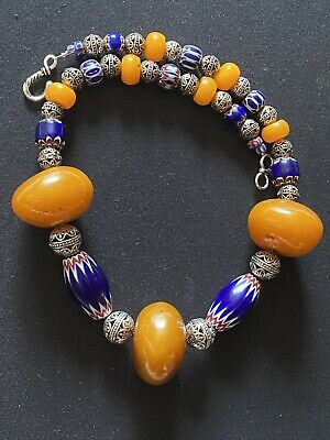 Chevron 6 layers Beads and copal Amber Vintage Moroccan Necklace.