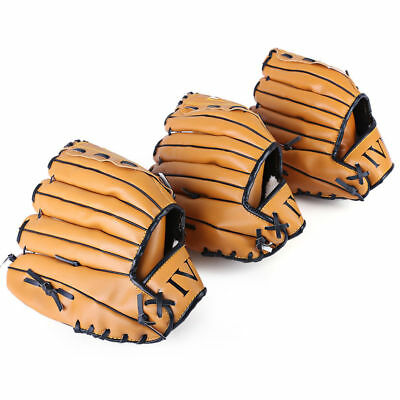 3 Sizes Left Hand PVC leather Brown Practice Softball Equipment Baseball Glove