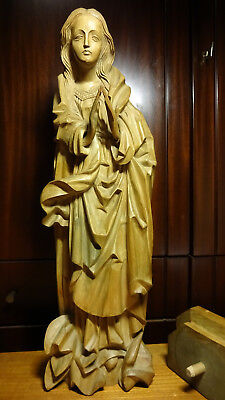 Antique Vintage Carved Wooden Praying Our Lady Mary Madonna & Jesus Wall Statue