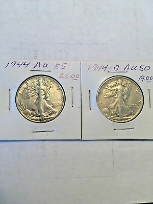 1944  1944-D Both AU  WALKING LiBERTY hALF dOLLARs
