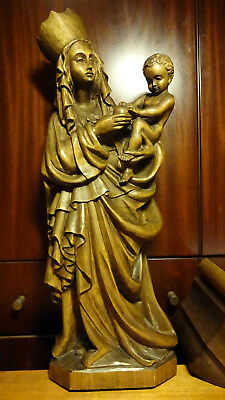 Antique Vintage Hand Carved Wooden Thorner Our Lady Mary Madonna & Jesus Statue