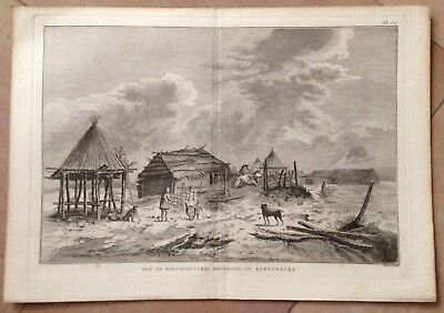 Russia Kamtschatka 1774 James Cook  Large Antique Copper Engraved View