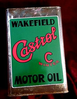 """CASTROL """"WAKEFIELD"""" MOTOR OIL MIXING CAN Sticker Decal 8"""" X 6"""" Retro Petrol"""