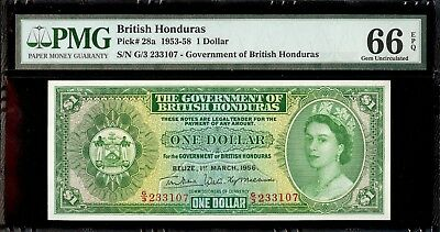 1953-58 British Honduras 1 Dollar PMG 66 EPQ Gem Uncirculated Pick 28a