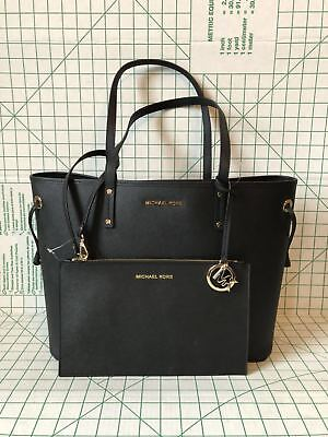 Michael Kors Jet Set Travel Large Drawstring Tote Bag With Pouch In Black