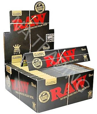 Raw Classic Black King Size Slim Thin Unrefined Smoking Rolling Papers x50 (BOX)
